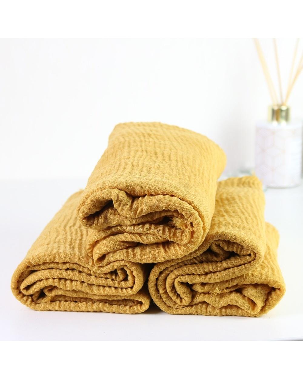 Maxi hijab froissé jaune moutarde