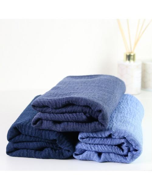 Maxi hijab froissé bleu figue