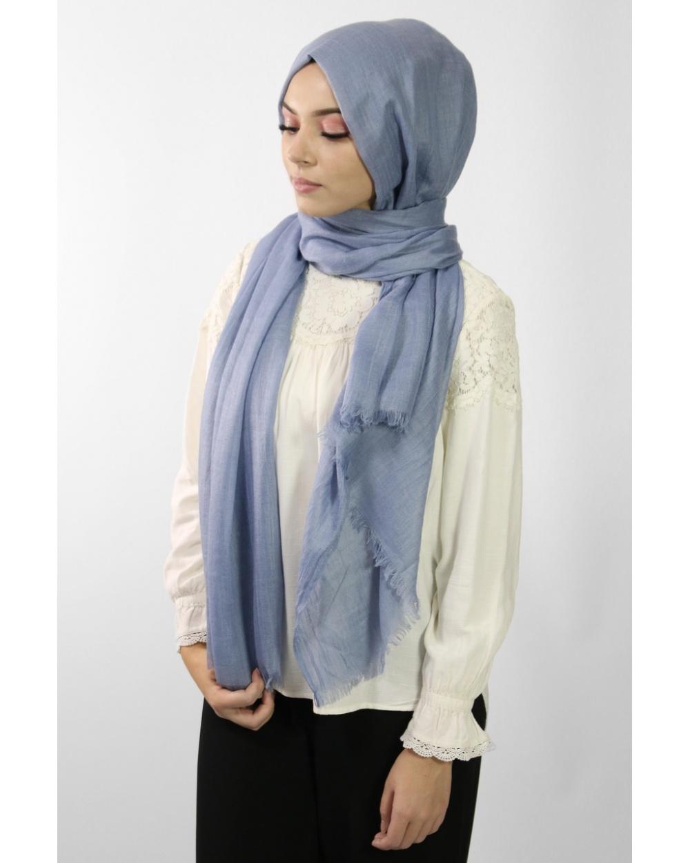 Maxi Hijab Coton PREMIUM bleu jean