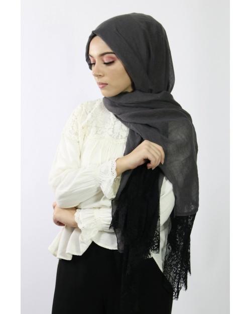 Maxi Hijab Coton PREMIUM avec dentelle gris souris