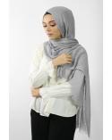 Maxi Hijab Coton PREMIUM avec dentelle gris clair