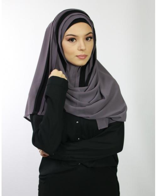 Hijab à enfiler entiérement cousu mauve