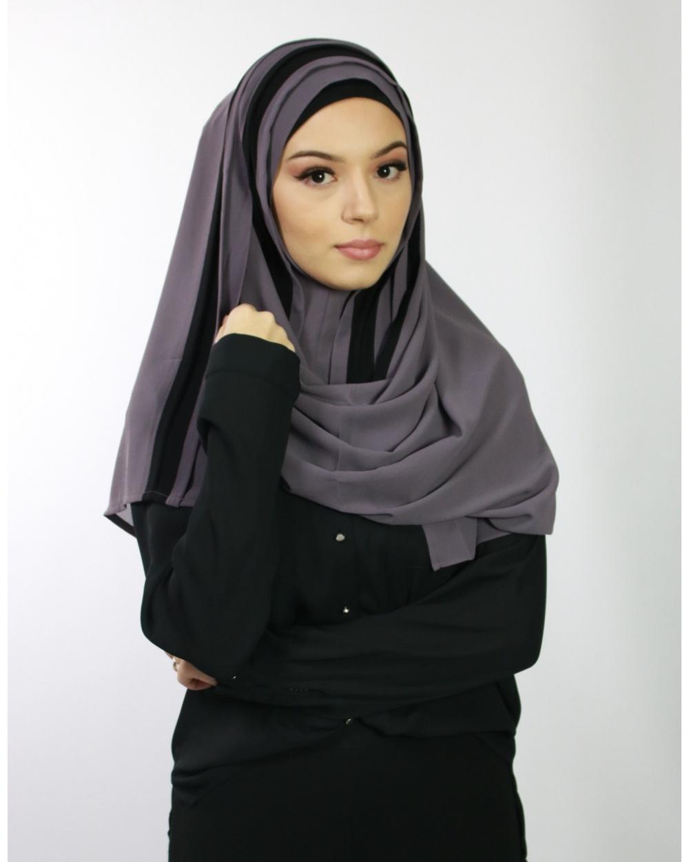 Hijab à enfiler mauve