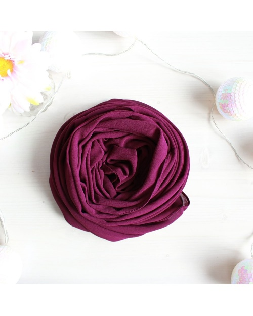 Hijab Crêpe Mousseline Rectangulaire Prune