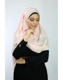 Hijab à enfiler entiérement cousu rose