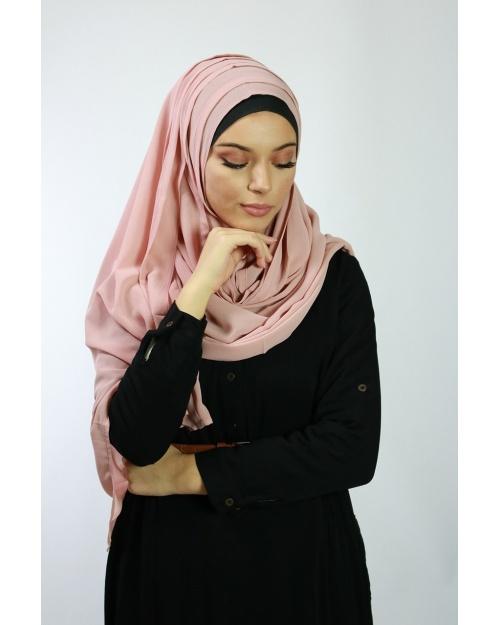 Hijab à enfiler entiérement cousu uni vieux rose