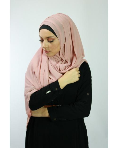 Hijab à enfiler entiérement cousu vieux rose