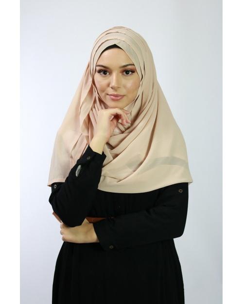 Hijab à enfiler entiérement cousu Nude