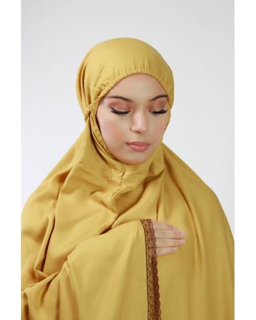 Ensemble de prière 3 pièces uni jaune moutarde