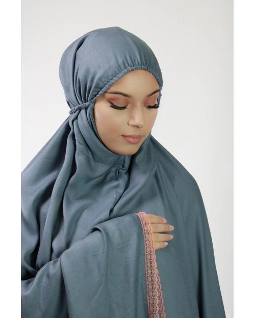 Ensemble de prière 3 pièces uni gris bleuté