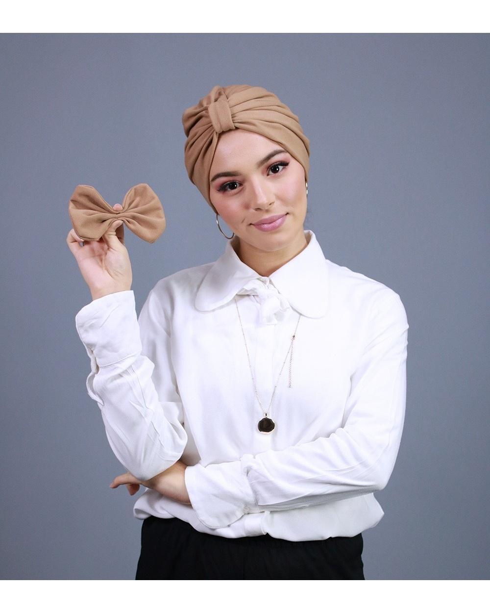 Turban à enfiler beige brun