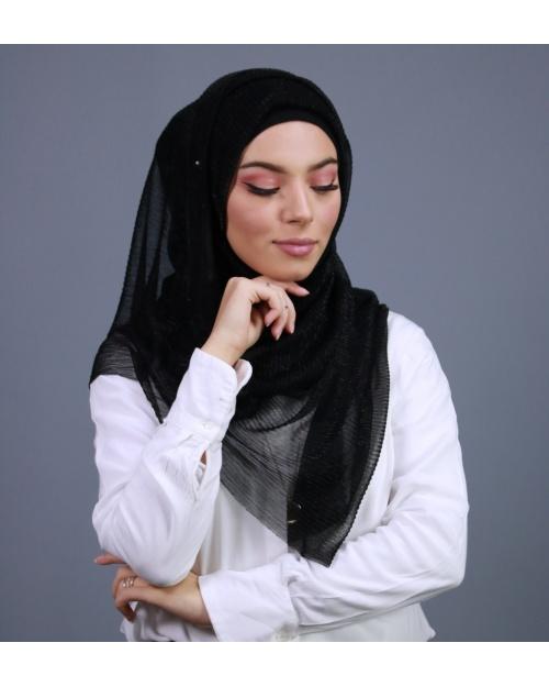 Hijab brillant pour fêtes noir