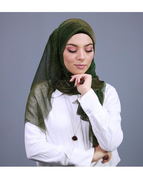 Hijab brillant pour fêtes VERT KAKI