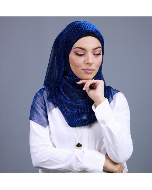 Hijab brillant pour fêtes bleu roi