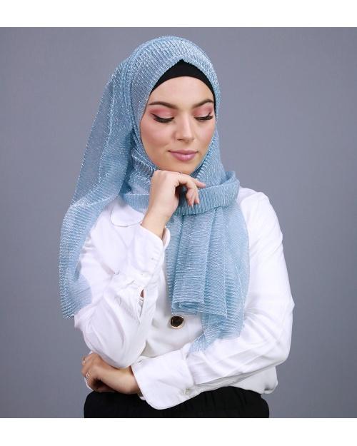 Hijab brillant pour fêtes bleu CIEL