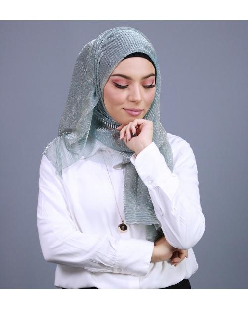 Hijab brillant pour fêtes vert pastel