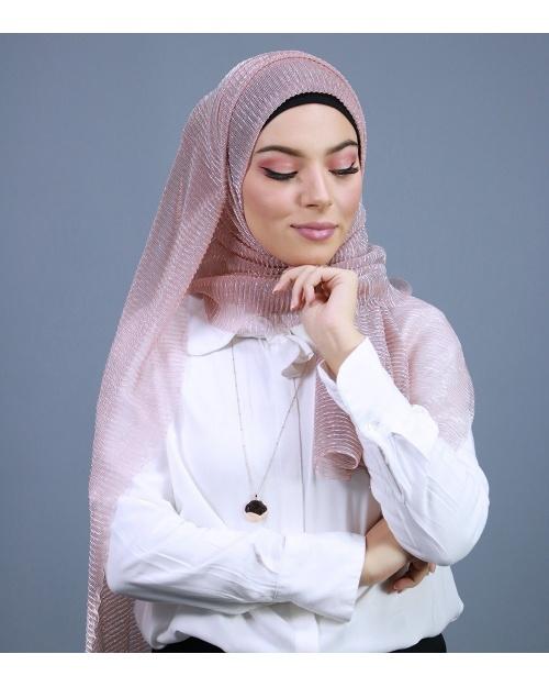 Hijab brillant pour fêtes rose clair
