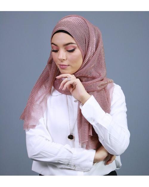 Hijab brillant pour fêtes vieux rose