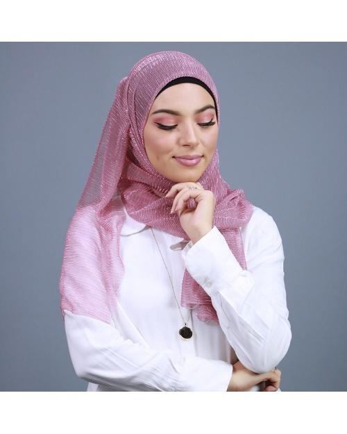 Hijab brillant pour fêtes rose dragée