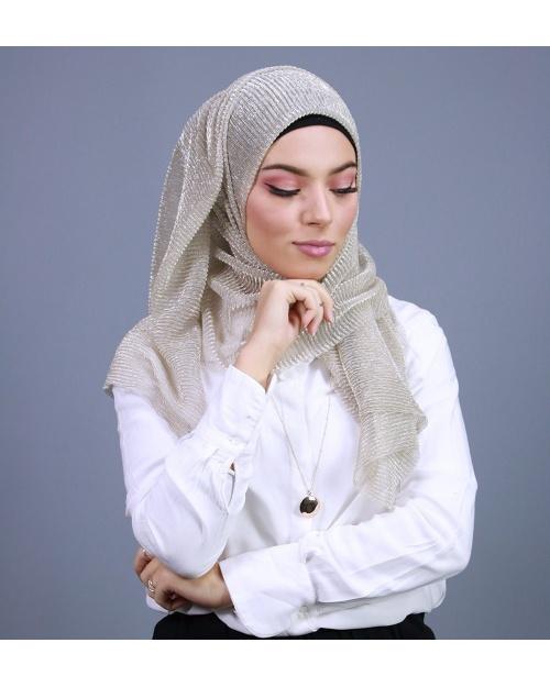 Hijab brillant pour fêtes beige
