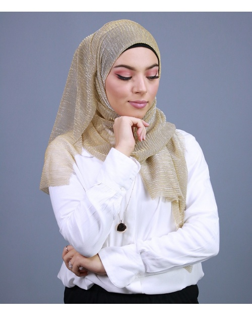 Hijab brillant pour fêtes doré