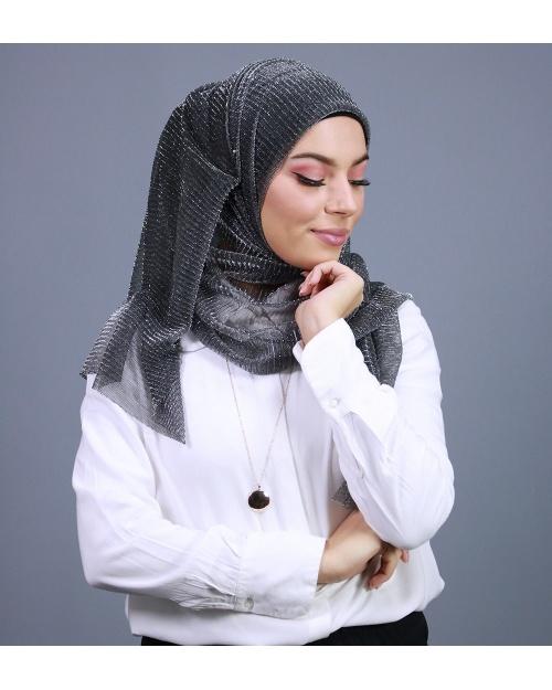 Hijab brillant pour fêtes gris souris