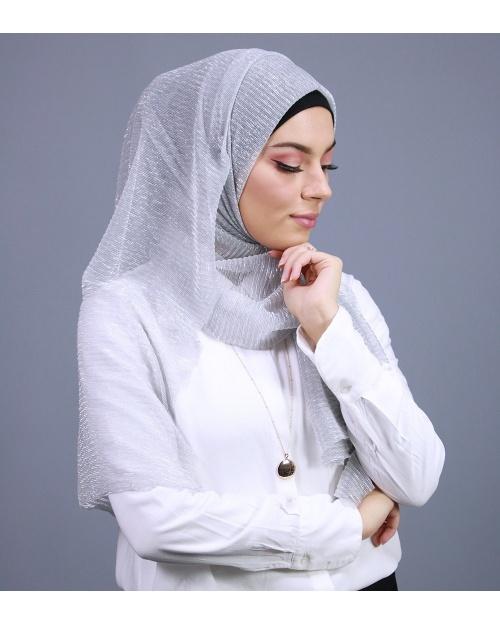 Hijab brillant pour fêtes gris clair