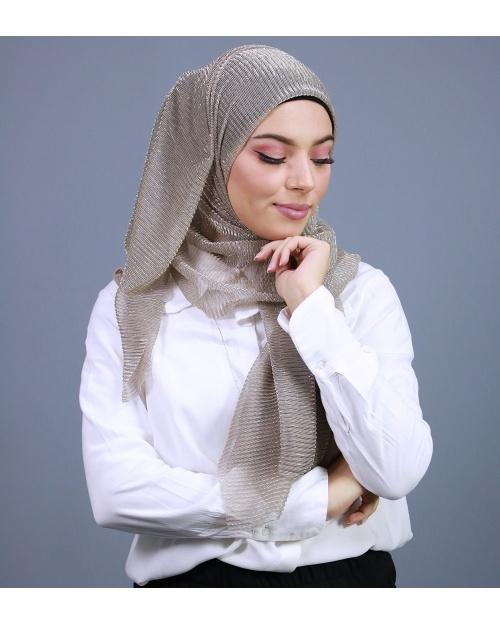 Hijab brillant pour fêtes taupe
