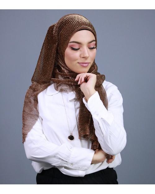 Hijab brillant pour fêtes Marron