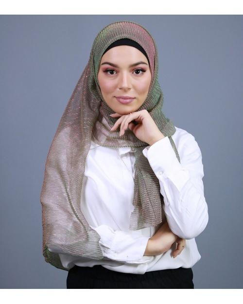 Hijab brillant pour fêtes egradé vert et rose