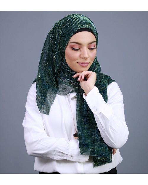 Hijab brillant pour fêtes vert bouteille