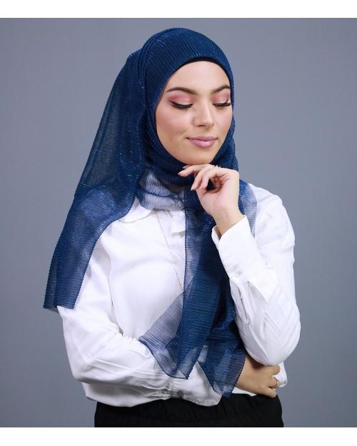 Hijab brillant pour fêtes Bleu