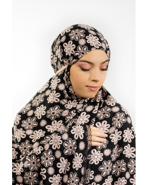 Ensemble de prière fleuri fond noir jupe beige