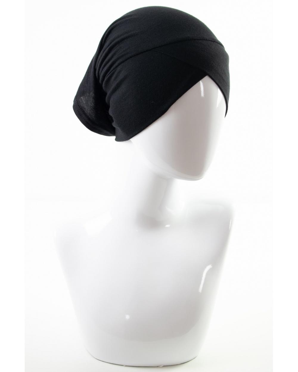 Sous hijab 2 en 1 : croisé / tube Noir