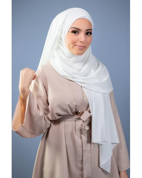 Maxi hijab mousseline de soie opaque ivoire