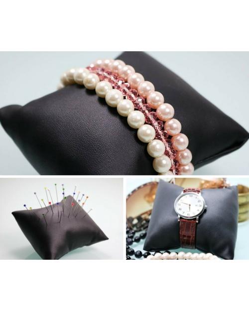 Rangement bijoux simili cuire couleur noir Rangement épingle petit coussin bracelet et montre
