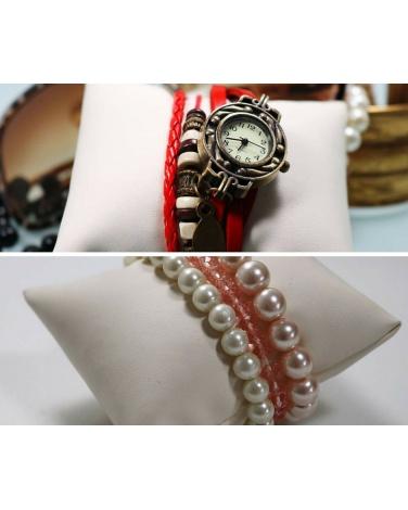Rangement bijoux simili cuire couleur écru Rangement épingle petit coussin bracelet et montre