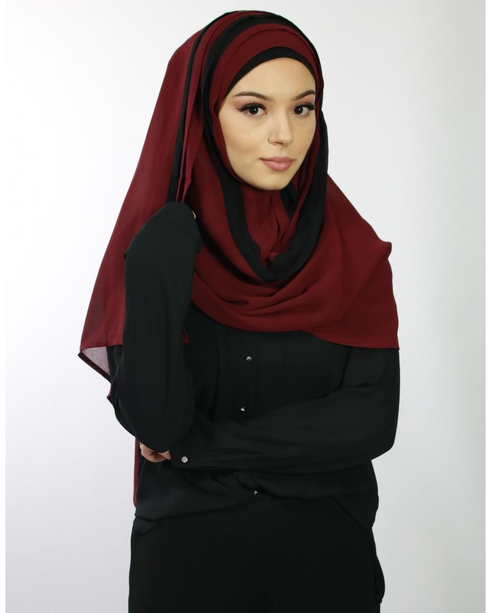 Hijab à enfiler entièrement cousu Rouge Bordeaux