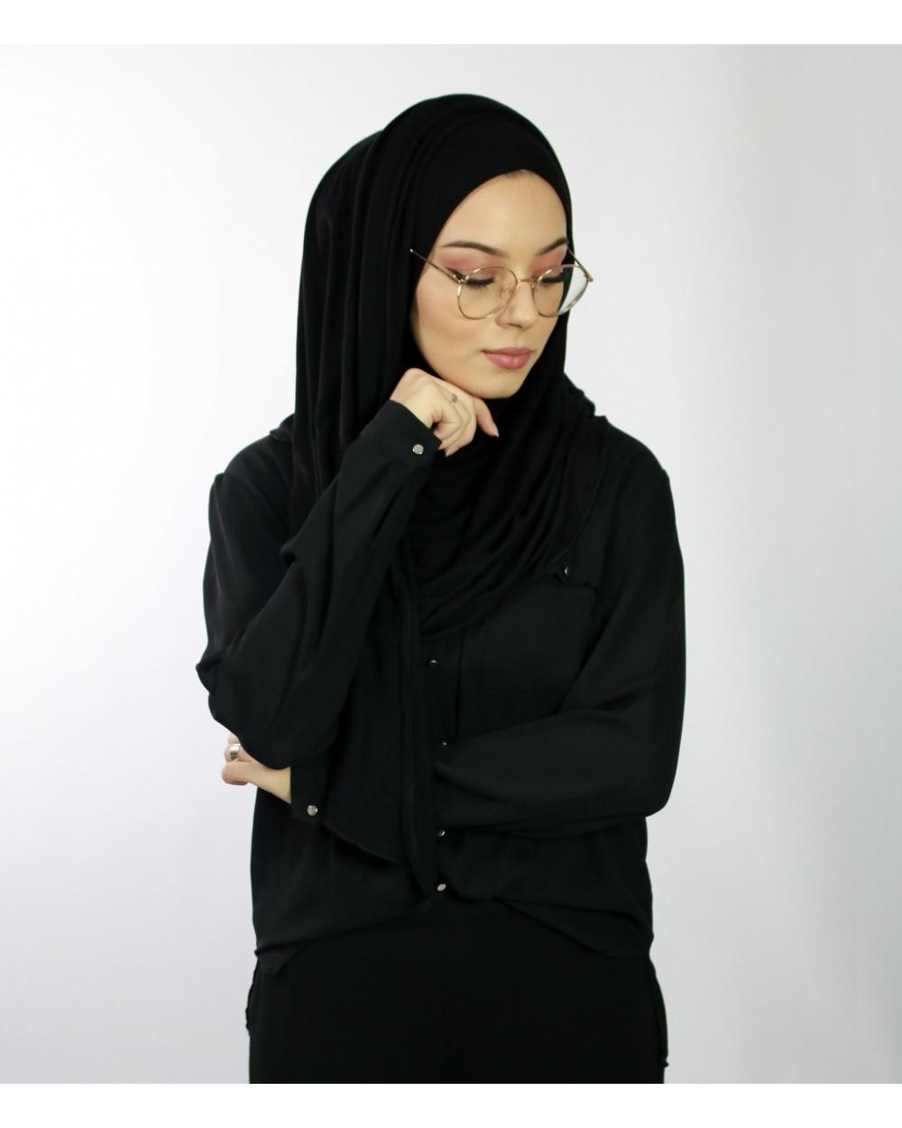 Hijab à enfiler avec ouvertures pour lunettes Noir