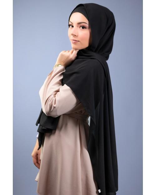 Maxi hijab mousseline de soie opaque Noir