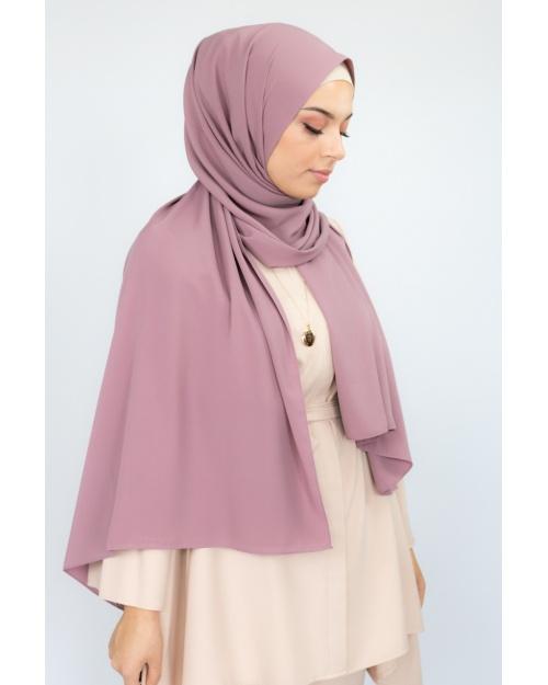 Hijab soie de médine mauve