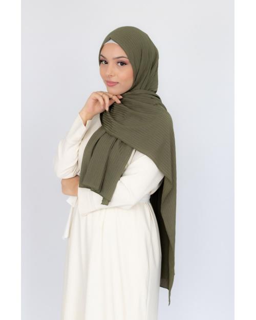 Hijab jersey Côtelé vert kaki