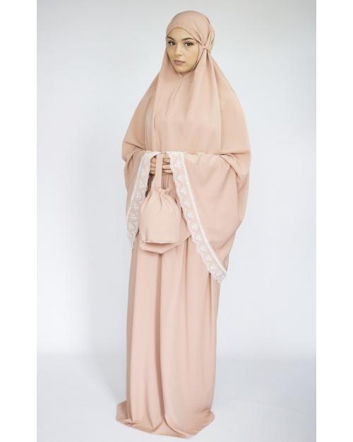 Ensemble de prière jupe imprimé et haut uni beige