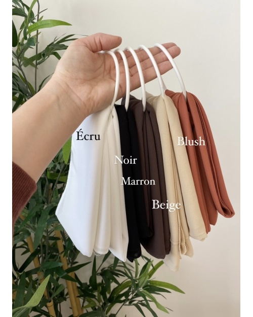 Lot hijab mousseline Ecru Noir Marron Beige Blush