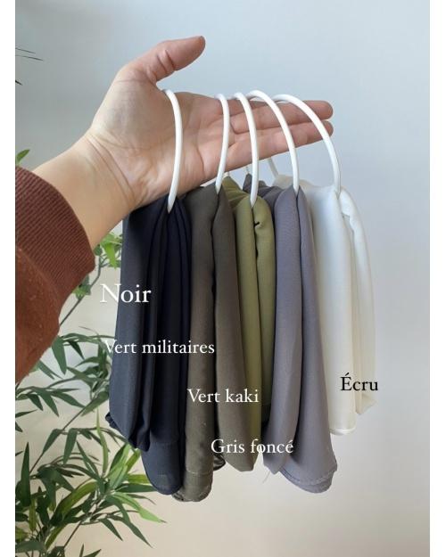 Lot hijab mousseline de soie Noir, Vert militaire, Vert kaki, Gris foncé, Ecru
