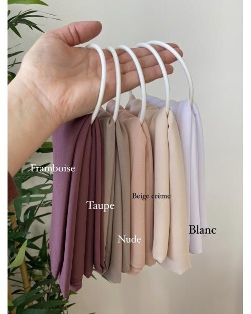 Lot hijab Mousseline de soie Blanc, Beige crème, Nude, Taupe, Framboise.