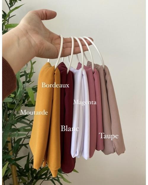 Lot hijab Mousseline de soie, Jaune, Bordeaux, Blanc, Vieux rose et Magenta