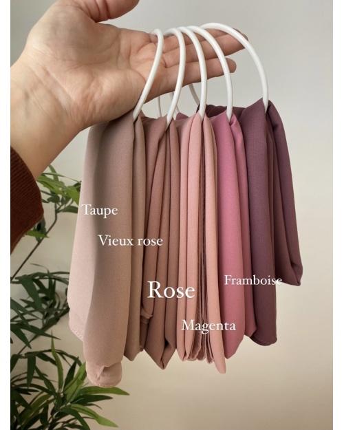 Lot hijab Mousseline de Soie Taupe, Vieux rose, Rose poudré, Magenta et Framboise