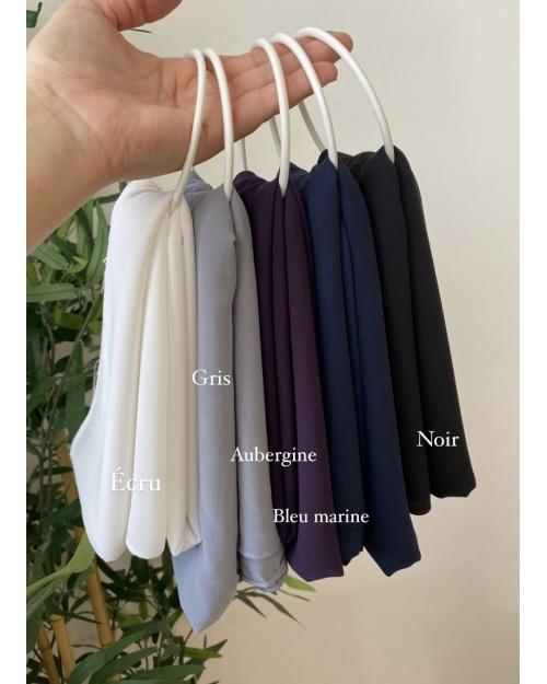 Lot hijab Mousseline de Soie Noir, Bleu Marine, Gris foncé, Aubergine, Ecrue