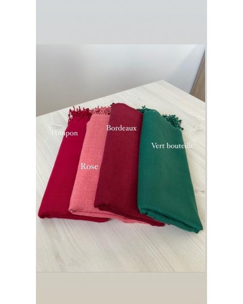 Lot de 4 hijab Pashmina Vert bouteille, Rouge bordeaux, Rose et Rose bonbon
